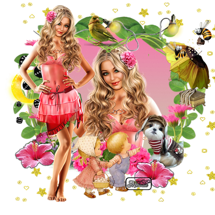 Femme en rose froufrou