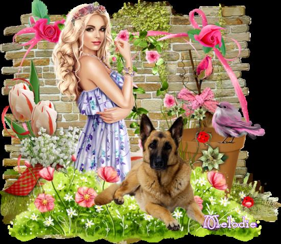 Femme et sa couronne de fleurs